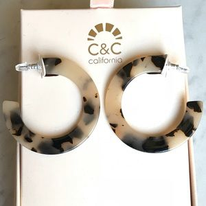 C& C California Resin Tortoise Hoop Earrings